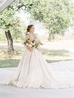 Dramatic Wedding Dress with a Band Tiara and Pastel Styling Ideas