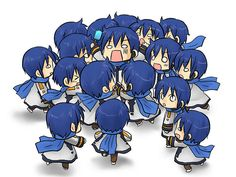 I feel bad for the one in the middle but Kaito in Chibi is so kawaii Vocaloid Kaito, Vocaloid Funny, Kaito Shion, Kagamine Rin And Len, Chibi Anime, Anime Manga, Anime Art, Otaku, Vocaloid Characters