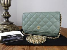 5a7d5e579b83 Chanel Classic Wallet on Chain WoC in Iridescent Khaki Caviar Leather >  https:/