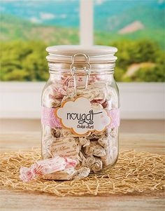 Buy Candy Jar with Sally Williams Nougat Online - NetGifts Same Day Delivery Service, Wrapping Gifts, Wrapping Ideas, Mason Jar Wine Glass, Jar Gifts, Candy Jars, Sally, Projects To Try, Wraps