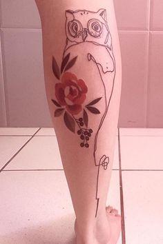 Cassio Magne owl flower tattoo