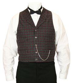 Vintage Mens Red,Black Plaid Notch Collar Dress Vest | Romantic | Old Fashioned | Traditional | Classic || Ives Plaid Vest