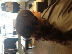 Clip in exstentions for a full wedding day down hair style.