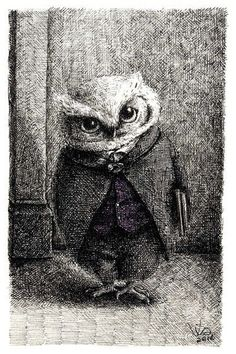 """Owl by Via Fang. From the story that accompanies the illustrations. """"I find suits to be a crime. And punishment. For one thing they tend to make the young look old. In my defence, I chose this one myself. With Father's guidance, of course. Illustration Photo, Illustrations, Owl Art, Bird Art, Wise Owl, Gravure, Art Drawings, Art Photography, Artsy"""
