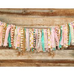 Gold, Blush Pink (2), Mint, Silver & White. Polka dots, stripes & sequin fabric. Pom-pom trim. 3-4 feet long with each piece 8-12 inches long