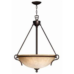 The Portofino bowl pendant features a Victorian Bronze finish.     6' of wire and 5' of chain.   Hand-Finished Wrought Iron fixture.   Champagne Marble Glass diffuser.  The price on this item is a clearance price. It may not be returned.