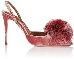 Aquazzura Women's Powder Puff Velvet Slingback Pum…