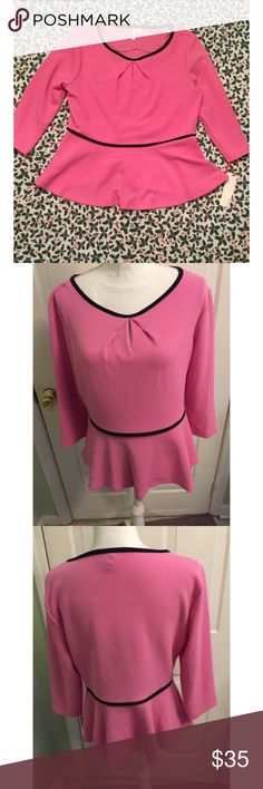 NWT Elle Pink Peplum Top ❤️️ Super cute Peplum top by ELLE! Brand new with tags!!  Color: Pink with black lining. Top is 3/4 Sleeve. Materials: 95% polyester & 5% spandex. Size Large. This is a must have! Elle Tops Blouses