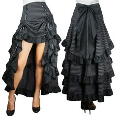 Skirt- pulled up at front for a sexy style that shows the shoes, but falls down in ruffles at the back
