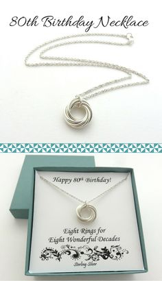 80th Birthday Gifts for Women | Sterling Silver Necklace Handmade Jewelry by MarciaHDesigns | 80th Birthday Ideas