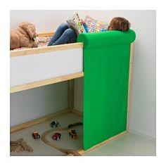 IKEA - STICKAT, Curtain with cushion, , The cushion is comfortable to lean against when you sit, rest, or play in KURA reversible bed.With one or more curtains you can easily create a cozy little tent under the bed.If you need an extra storage space, you can hide things behind the curtain.