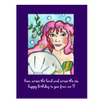 Birthday wishes mermaid and dolphin postcard