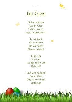 """Im Gras"" Ostergedicht Kindergarten Kitakiste"