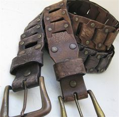Men's Belt Rustic Link Faded Black or Faded Brown Leather Antique brass Buckle