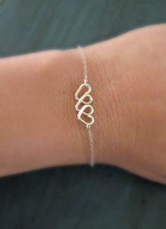 Infinite Love Heart Infinity Bracelet Sterling Silver Friendship Bracelet Bridesmaid Jewelry Best Friends Gift Sisters Bracelet. $23.00, via Etsy. Four hearts ..sister tatoo