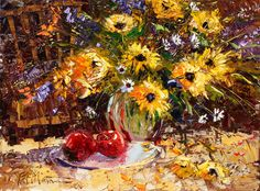"""Patrick Matthews chronicles """"A Day of Sunshine"""" in this warm oil. Click the image to see more of his work. #art #fineart #painting #arttovisit #gallery #painter #artist #artalive #artnews #lifeofanartist #followart #supportart #artbeat #modernart #contemporaryart #santafe #newmexico #new_mexico #santafenm #canyonroad #okeeffecountry #newmexicotrue #southwest #red #yellow #flowers #stilllife #apples #apple #sunflower #sunflowers #dutch #oil #oilpainting"""