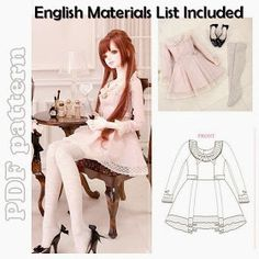 CraftyLine e-pattern shop: SD BJD Cute Girly Korean Fashion Dress and Stockings Sewing Pattern PDF