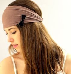 Taupe Head Wrap with Elastic Back, HeadWrap Women's Headband, Hair Wrap turban head band with an olive velvet bow for Women. Head Wrap Headband, Headband Hair, Headbands For Women, Loose Hairstyles, Green Velvet, Top Knot, Turban, Head Wraps, Hair Band