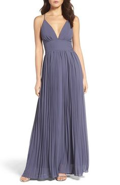 Lulus Plunging V-Neck Pleat Georgette Gown available at #Nordstrom IN NUDE