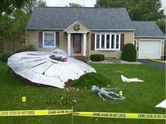 This Is A UFO In There Yard Halloween Picture .