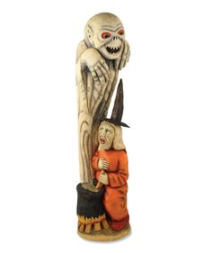This witch is stirring up her ghoul indeed.  Does she really know what she is in for?  Thjs figure measures an amazing 22 1/4″ tall and makes a great statement piece.    Designed By Anthony Costanzafor Bethany Lowe Designs.
