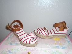 TORY BURCH Karissa Espadrille Canvas & Leather Red White Wedge Heel Shoes sz 7 #ToryBurch #PlatformsWedges #Casual