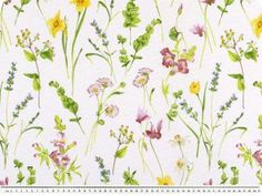 Summerly deco fabric, flowers, white-multicolour, 140cm