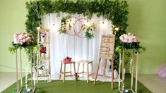 DIY - Cara membuat dekorasi lamaran simpel menawan I like the stands with flowers on the stands as well as the hoops in the back Rustic Wedding Backdrops, Wedding Stage Decorations, Engagement Decorations, Wedding Ceremony Backdrop, Arch Decoration, Background Decoration, Backdrop Decorations, Wedding Stage Design, Wedding Gift Boxes