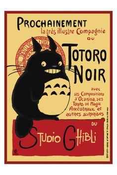 Tonari no Totoro meets Le Chat Noir poster. <3 <3