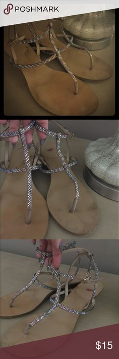 INC leather rhinestone sandals Preowned condition but still lots of life left in them.  They are gorgeous and sparkly sandals.  Many compliments given INC International Concepts Shoes Sandals