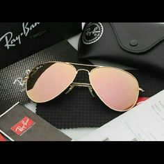 Ray-Ban Aviator Sunglasses Silver with Pink Lenses These sunglasses are like new! They lenses are a beautiful pink tint outlined in silver trim. These are a MUST HAVE! Ray-Ban Accessories Glasses
