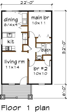 floorplan for narrow ranch [936 sq ft] from valubuild.net -- many ...