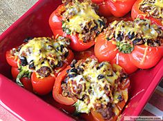 A good'ole traditional stuffed pepper here! Well…..maybe not so traditional, but healthier! There are so many variations of a stuffed pepper out there and you can really add whatever you like. This one was inspired by my Healthier Taco Salad recipe. Using ground turkey and some delicious ingredients this baked goodness is hearty and satisfying. …