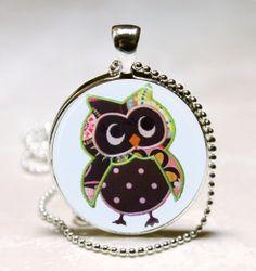 Owl Necklace Birds Nature Woodland Brown by MissingPiecesStudio, $9.95