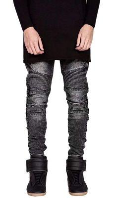 002cf214bf4 Kmety Men s Ripped Slim Straight Fit Biker Jeans at Amazon Men s Clothing  store
