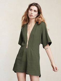 The Azura Dress lets you feel comfortable while also highlighting some of those special parts. This is a loose-fitting mini dress with a deep V neckline, kimono sleeves and side pockets. https://www.thereformation.com/products/azura-dress-la-palma?utm_source=pinterest&utm_medium=organic&utm_campaign=PinterestOwnedPins