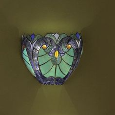 Halston Blue Stained Glass-LED Wall Sconce