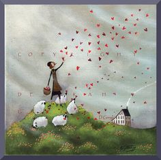 Where She Goes Love Follows  A small Hearts Love Sheep Valentine Saltbox Print by Deborah Gregg