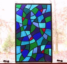 Abstract Stained Glass Leaded Glass Window Mural Sacred Modern Cross Factories And Mines