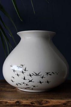 Fat Ceramic Vase Designed by Piet Hein Eek - Medium Birds   Rockett St. George