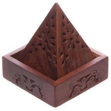 Sheesham Wooden Incense Cone Joss Stick Burner Holder Pyramid Box Fretwork IF198