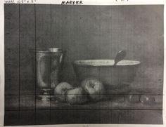 Master copy, artist Chardin still life in black and white