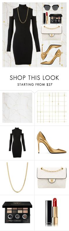 """Black and gold"" by loustjohn ❤ liked on Polyvore featuring Augusta, Tempaper, Versus, Yves Saint Laurent, Bianca Pratt, Chanel and Bobbi Brown Cosmetics"