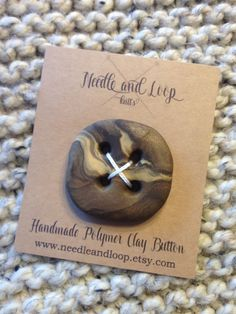 Extra large hand crafted polymer clay button knit by NeedleandLoop