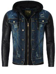 Y&R Men Stylish Distressed Denim Hoodie Jacket Faux Leather Sleeves - Blue