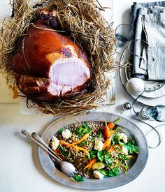 Australian Gourmet Traveller recipe for ham baked in hay with roast carrot and barley salad.