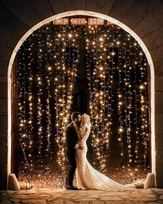 18 Whimsical Winter Wedding Arches and Backdrops - Oh Best Day Ever string lights wedding backdrop ideas. Cute Wedding Ideas, Wedding Goals, Perfect Wedding, Wedding Planning, Dream Wedding, Wedding Day, Wedding Bride, Wedding Shoes, Light Wedding