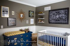 Eclectic Vintage Baby Boy Navy and Mustard Yellow Nursery - Pictures of all over this beautiful nursery AND LINKS ON WHERE TO FIND PIECES!      Life: by the Frenchs Lifestyle Photography - Kansas City