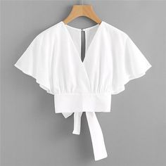 Summer Batwing Sleeve Elegant Woman Top Short Sleeve Button Solid