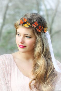 Orange and yellow Monarch Butterfly hair crown by serenitycrystal